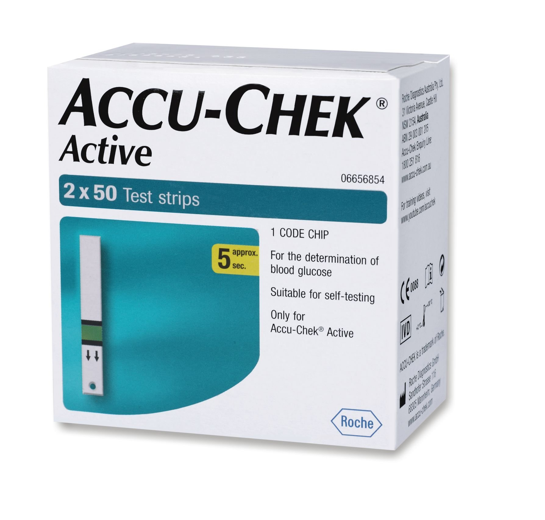 Accu-Chek Active 100 Strips, (50x2) (Multicolor) product image