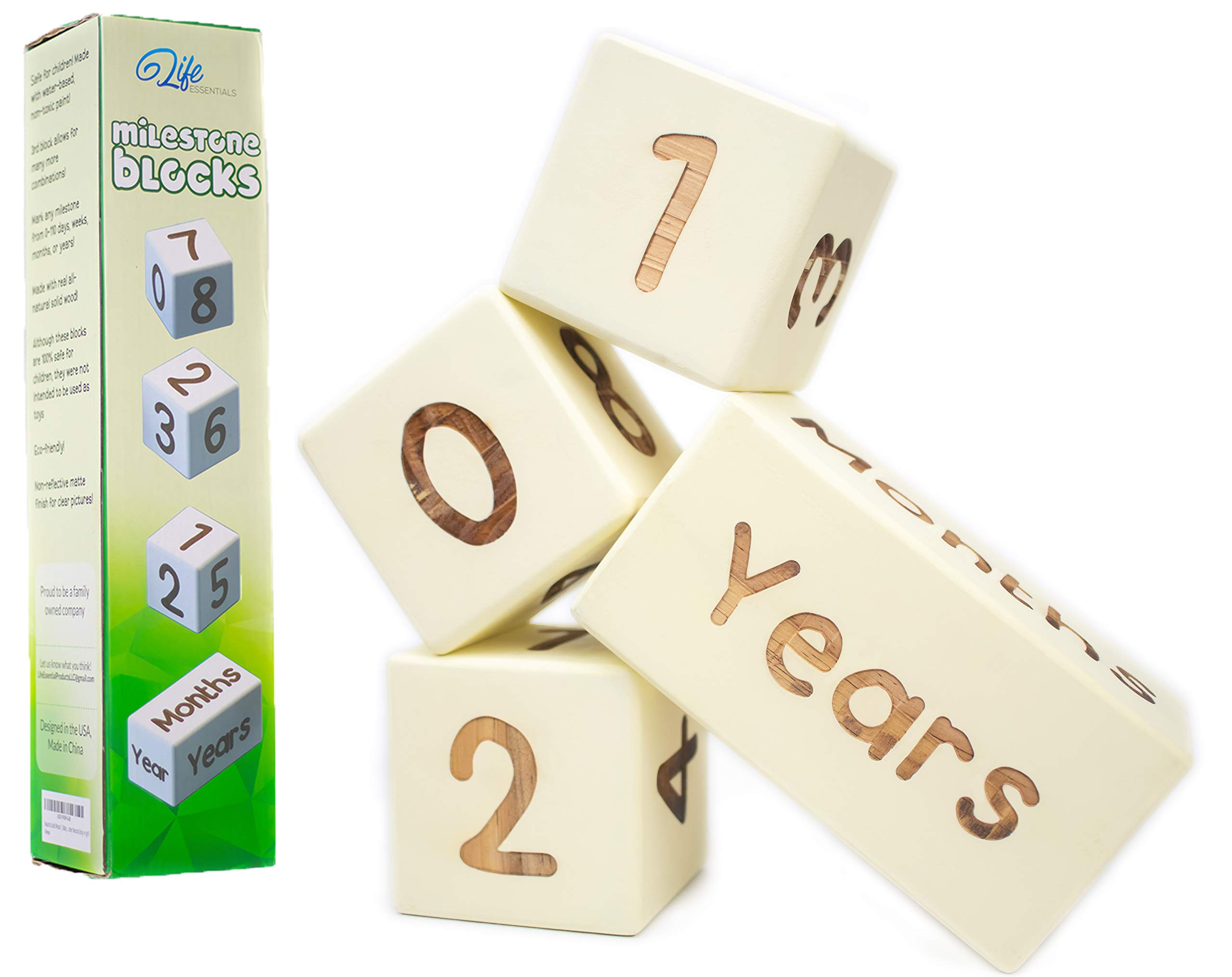 Baby Milestone Age Blocks | Natural Solid Wood | Days, Weeks, Months, Years | Newborn Gender Neutral (Boy or Girl) | Picture Photo Prop | Baby Shower Gender Reveal by Life Essentials