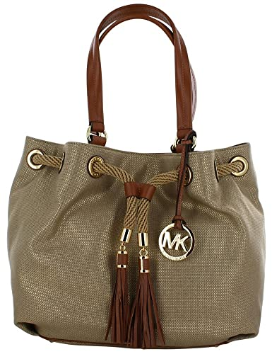 7b64548f597f Amazon.com  Michael Kors Marina Large MK Signature PVC Gathered Tote -  Gold  Shoes