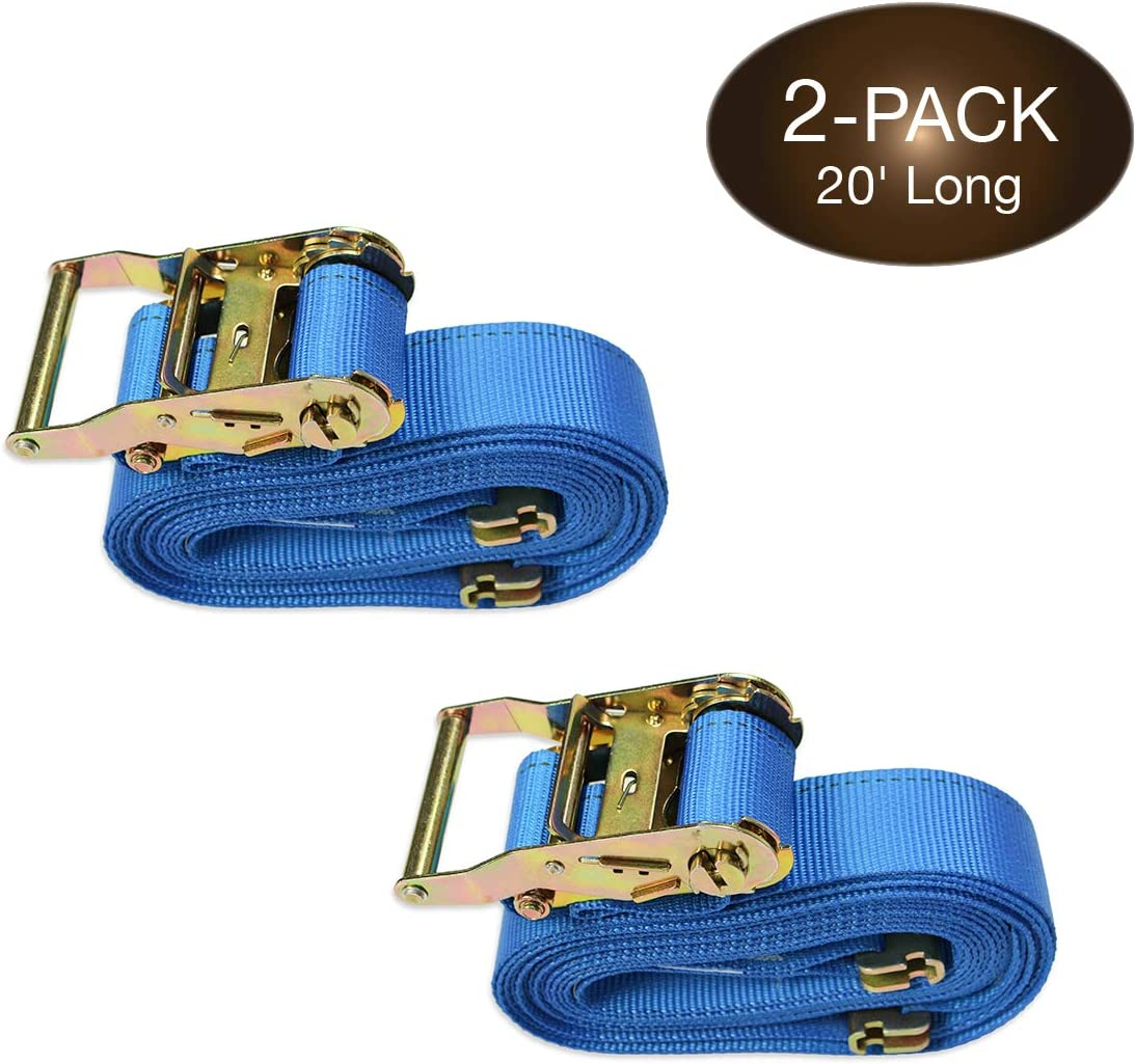20 E Track Ratchet Tie-Down Cargo Straps 2 x 16 Durable Ratcheting Strap Cargo TieDowns ETrack Spring Fittings Heavy Duty Grey Polyester Tie-Downs