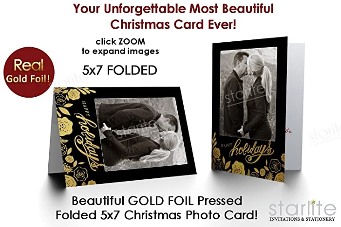 Amazon Com Real Gold Foil Pressed Printed Holiday Christmas Photo