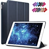 iPad Air 2 Case, ROARTZ Metallic Navy Blue Slim Fit Smart Rubber Coated Folio Case Hard Shell Cover Light-Weight Auto Wake/Sleep For Apple iPad Air 2nd Generation A1566/A1567 Retina Display