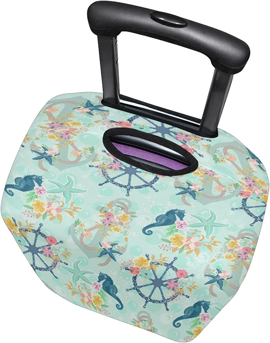 LAVOVO Nautical Anchor Starfish Floral Luggage Cover Suitcase Protector Carry On Covers