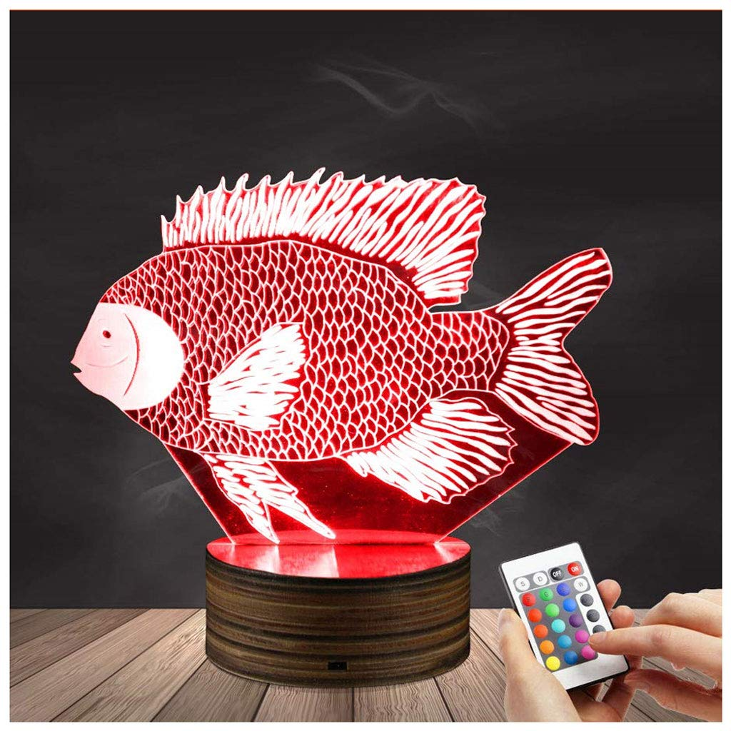 Novelty Lamp, Optical Illusion Fish 3D LED Lamp Night Light,USB Powered Remote Control Changes The Color of The Light, Bedroom Decoration Lighting for Children's, Ambient Light