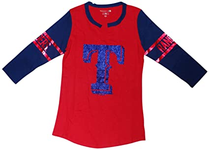27b4fc8e Amazon.com : Texas RangersWomen's 3/4 Sleeve V-Notch Slub Jersey ...