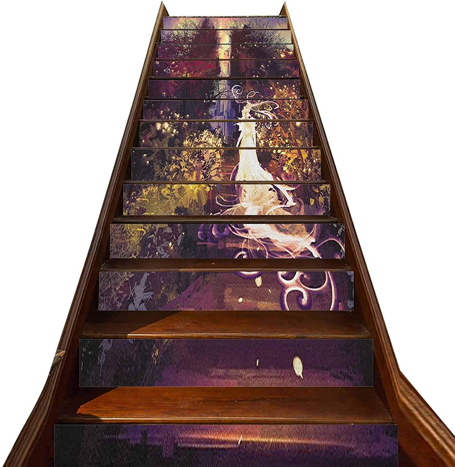 3D Fantasy Pattern Stair Stickers 13 PCS,Surreal Silhouette of Elf Lady Figure on Stair in Garden Expressionist Artwork Self-Adhesive Refurbished Staircase Murals,for Hotel Home Staircase Riser Decor