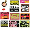 SYGA Funny Wedding Party Photo Booth Props Craft Item, Multi Colour (Set of 12)