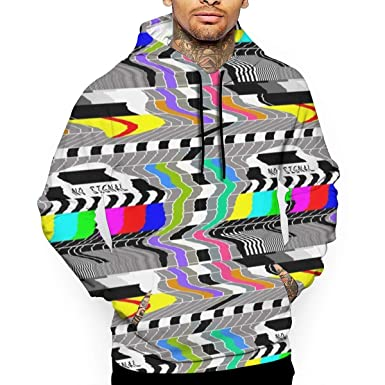 5b8996c12f94e Amazon.com: Television Test Cards Patterns Rainbow Men's Digital Print  Hooded Sweater Pullover Sweatshirt Top Hoodie: Clothing
