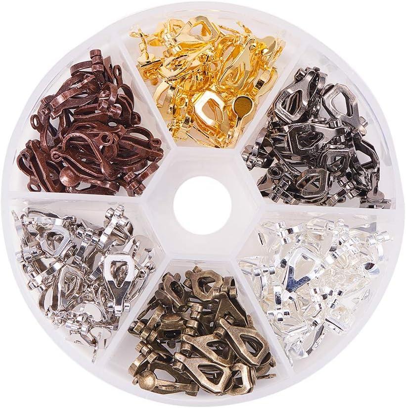 PandaHall Elite - Pendientes de gancho, de latón, con perlas, sin níquel, color mixto, pin: 0,7 mm, 19 x 1,5 mm