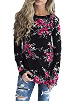 Sidefeel Women Casual Floral Printed Long Sleeve Blouse Tops