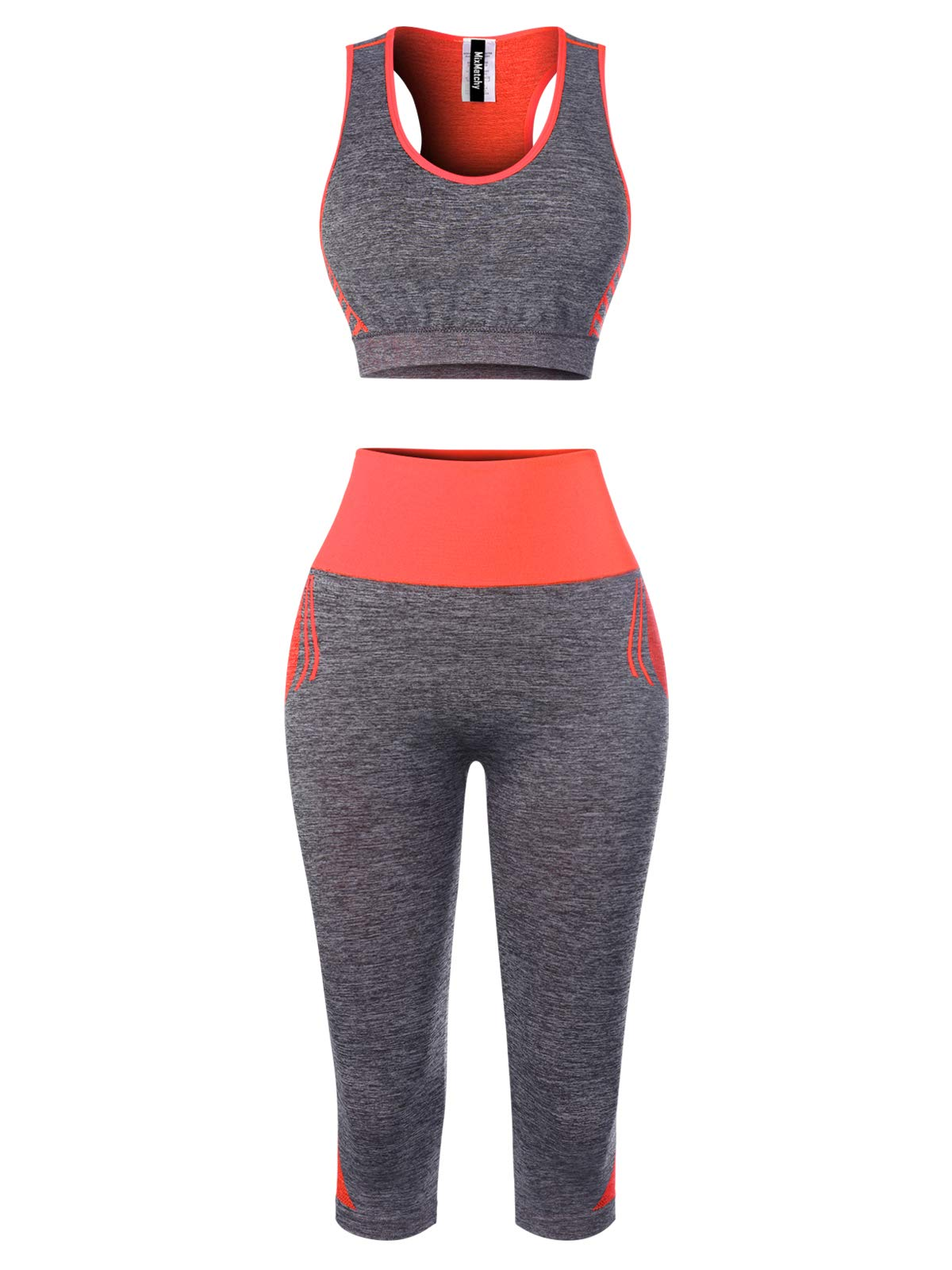 MixMatchy Women's Sports Gym Yoga Workout Activewear Sets Tank Crop Top & Capri Leggings Set Orange ONE by MixMatchy