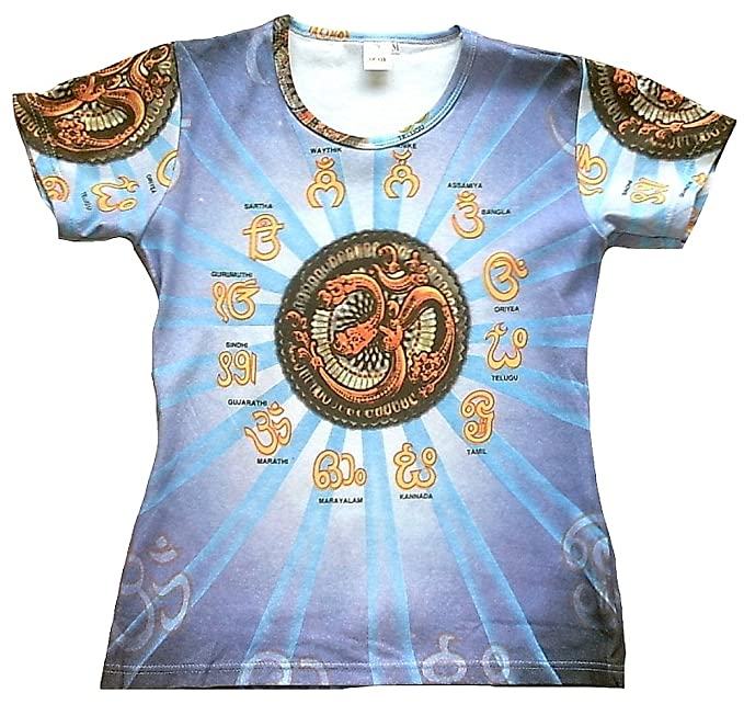 TICILA – Camiseta de Mujer Azul Om AUM Símbolo mantren Hindú Psychodelic Goa Trance DJ Beach