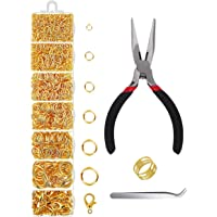 1500 Pieces Jump Rings with Lobster Clasps and Jewelry Pliers for Jewelry Making Supplies Findings and Necklace Earring Repair, Gold