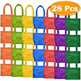 Paxcoo 28 Packs 7 Colors Party Favor Tote Gift Bags Non-woven Goodie Treat Bags with Handles for Kids Birthday, 8 x 8 Inch