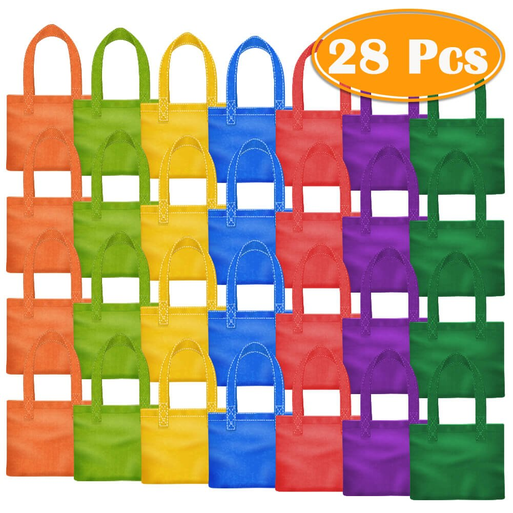 PAXCOO 28 Packs 7 Colors Party Favor Tote Gift Bags Non-woven Goodie Treat Bags with Handles for Kids Birthday, 8 x 8 Inch … by PAXCOO