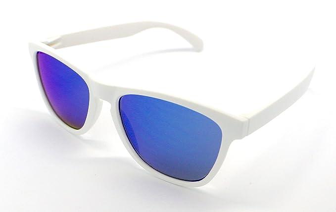 Gafas de Sol Blanco Pasta Espejo Azul Alta Calidad UV 400 ...