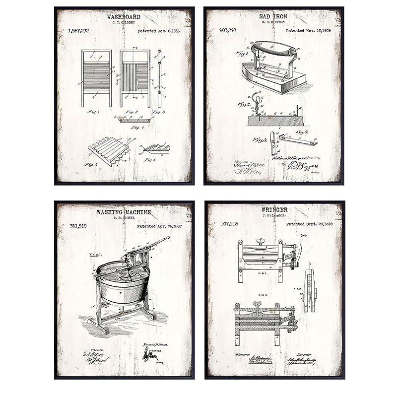 Laundry Room Decor Patent Print Set of 6 Unframed Vintage Washing Drying Ironing housekeeping Decor