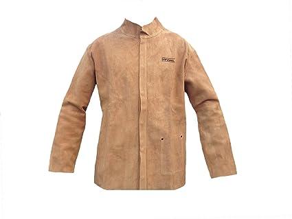 Safewel - Chaqueta de soldador (piel, tamaño grande), color beige