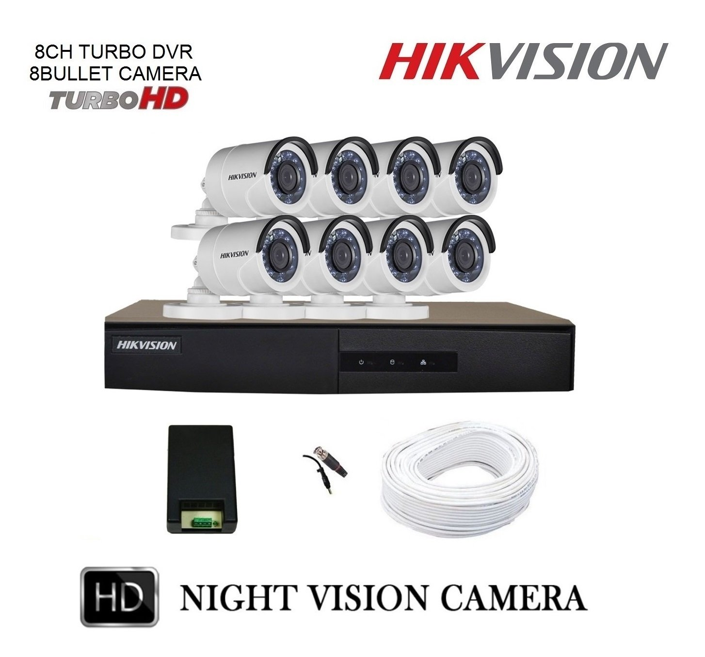 Hikvision 8 CCTV Cameras (Night Vision) & 8Channel DVR Standalone Kit