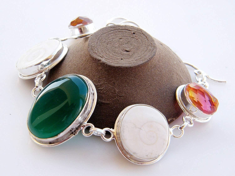 Gemstone Bracelet AH-11293 Surbhi Crafts Multi Gemstone Bracelet Handmade Silver Plated Bracelet Link Bracelet