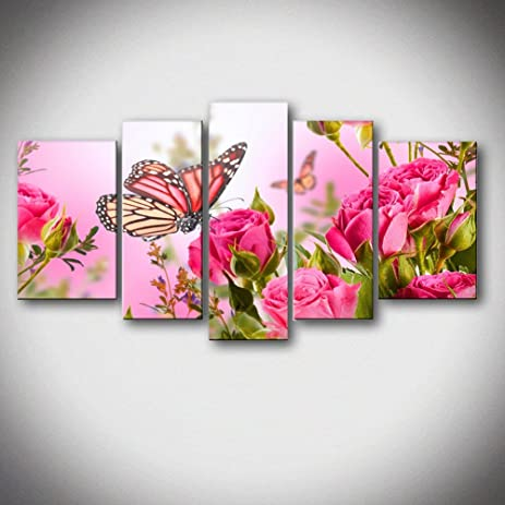 Amazon.com: 5 Panels Butterfly Stop On Red Flower The Picture Print ...