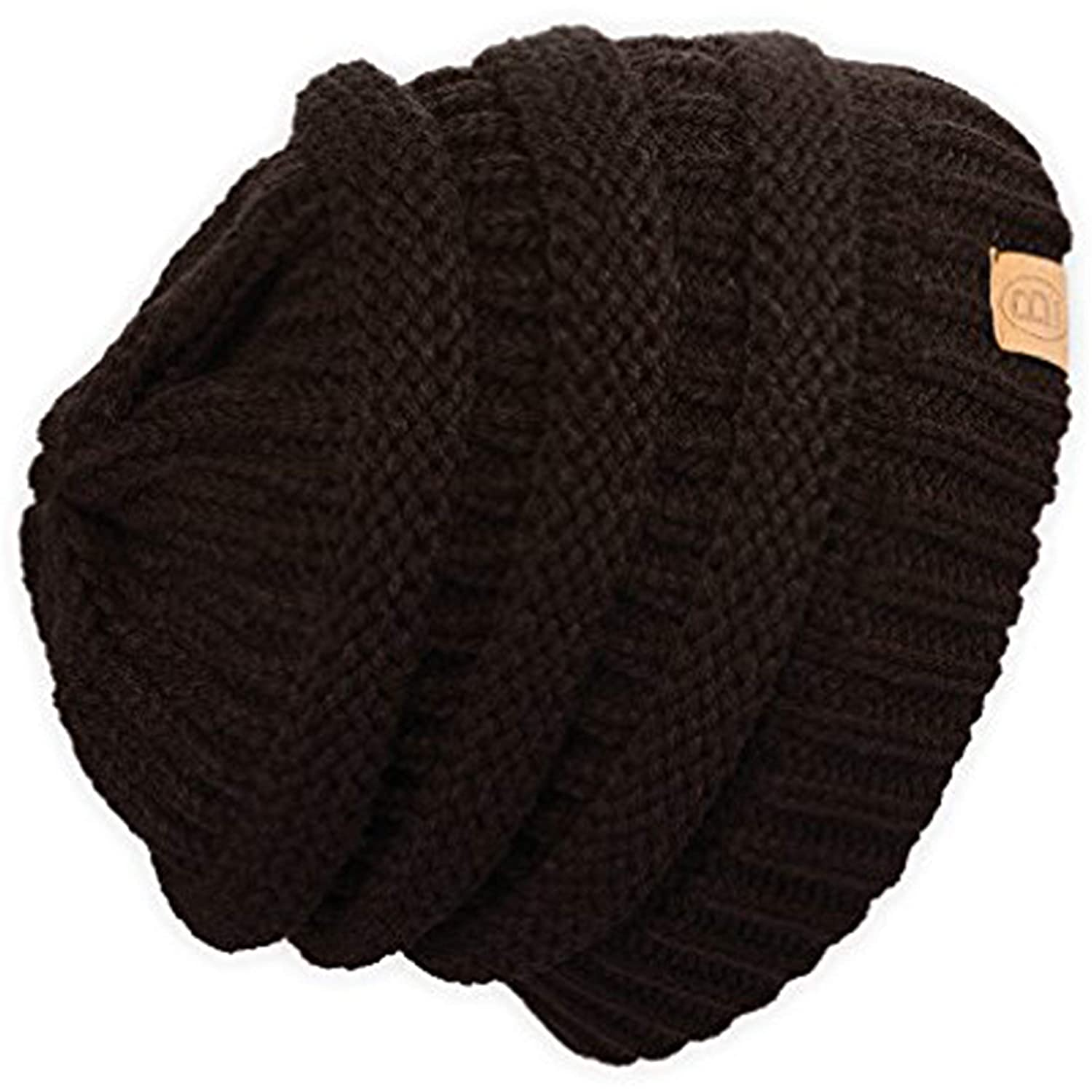 Unisex Adult Winter Warm Chunky Soft Stretch Cable Knit Beanie Cap Ski Hat