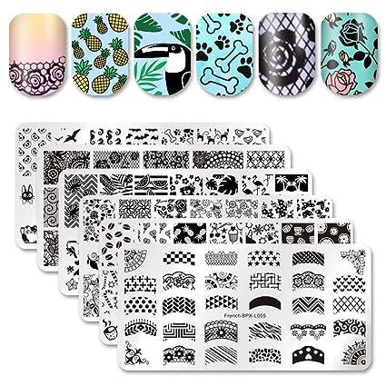 Nacido Pretty 6pcs Nail Art Stamping Plantilla Juego francés diseño de flores de encaje diseño de animales placa de la imagen de impresión de uñas