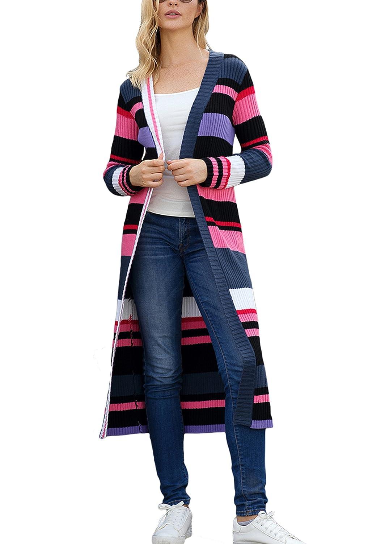 05423ddf180 Sidefeel Women Striped Color Block Cardigans Open Front Long Sweater Coat  Outwear