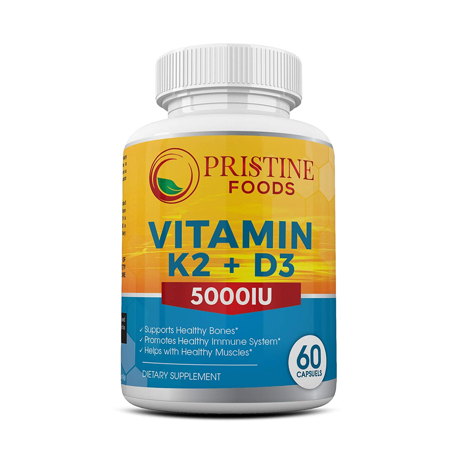 Vitamin D3 5000 IU with K2 (MK7) Formula. Bone & Heart Health Complex w/Superior Absorption. Immune, Bone & Muscle Support. 60 Capsules. Gluten, Dairy, Soy Free, Non-GMO Made in the USA Pristine Foods