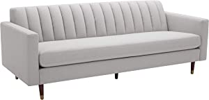 "Amazon Brand – Rivet Damien Mid-Century Modern Channel-Tufted Sofa, 87""W, Felt Grey"