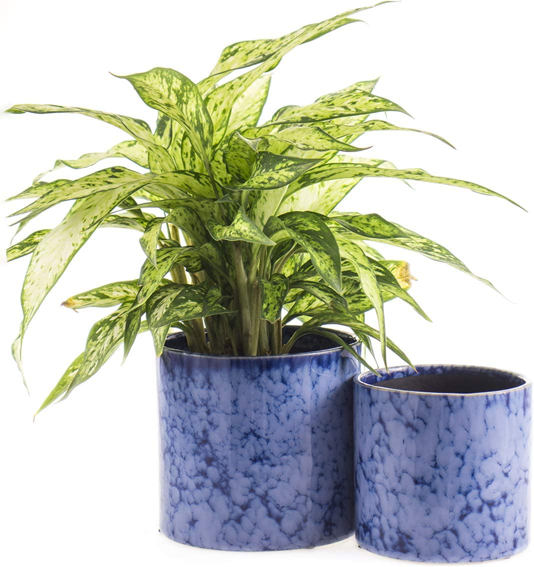 "KYY Ceramic Planters Garden Flower Pots with Drainage Hole 5.5"" and 4.5"" Modern Plant Pot Indoor Outdoor Set of 2 (Blue)"