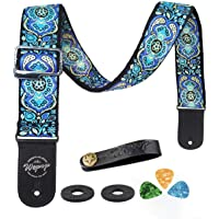 Guitar Strap Vintage Woven Style Adjustable Acoustic Electric Guitar Bass Strap with Leather Ends, Picks, Strap Bundle, Button