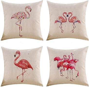 Gspirit 4 Pack Flamenco Algodón Lino Throw Pillow Case Funda de ...