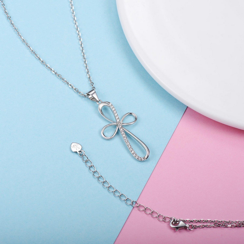 CS-DB Pendants Crystal Cross Cubic Zirconia Silver Necklaces