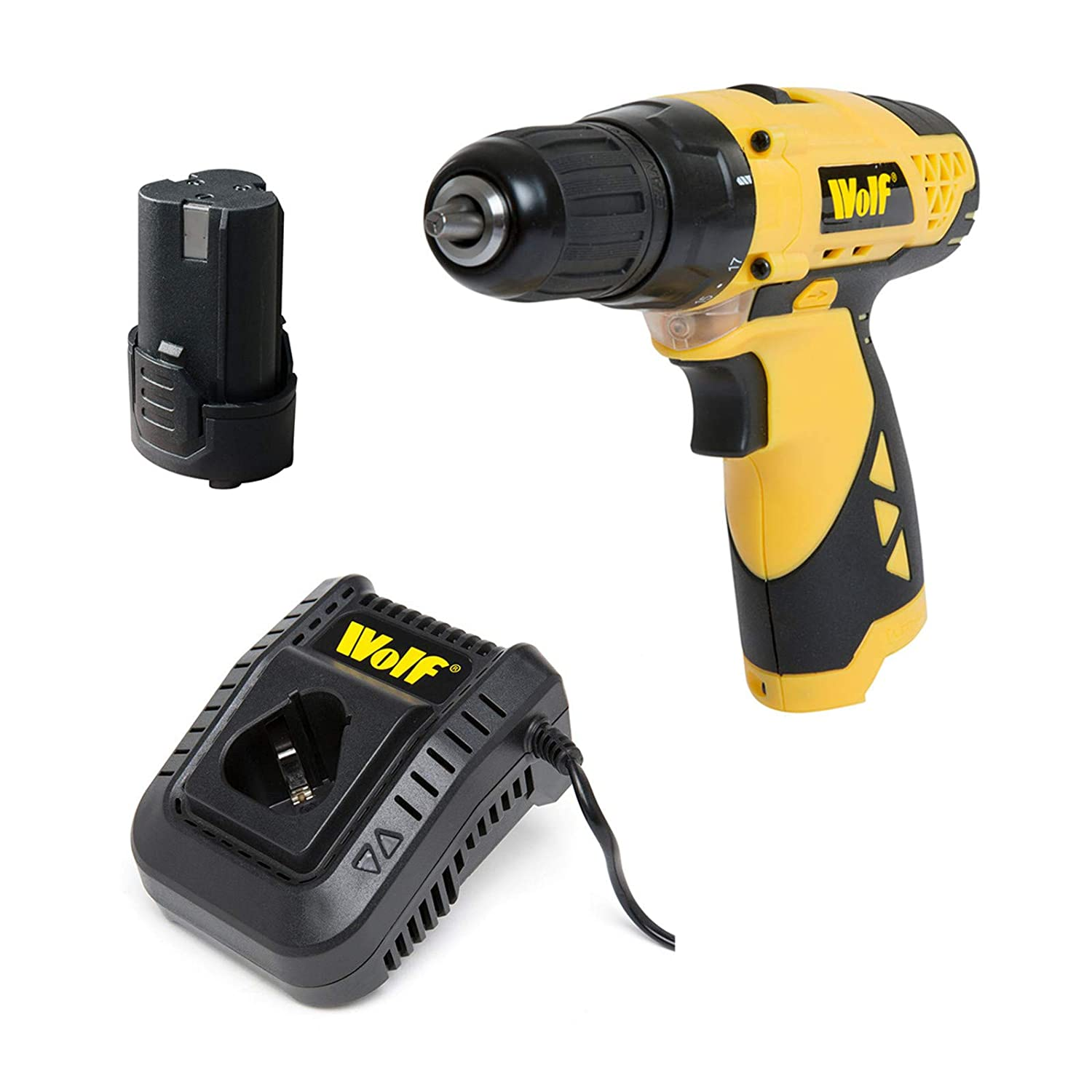 Wolf A Cordless Drill Driver 12v Keyless Chuck Lithium Ion Battery /& Charger