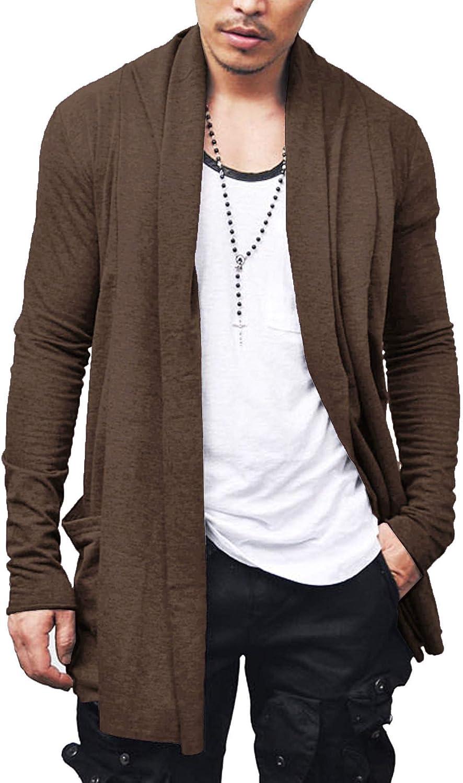 COOFANDY Mens Ruffle Shawl Collar Cardigan Lightweight Cotton Blend Long Length Drape Cape Overcoat