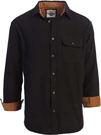 Gioberti Camisa a Cuadros de Franela cepillada 100% algodón con Contraste de Pana para Hombre