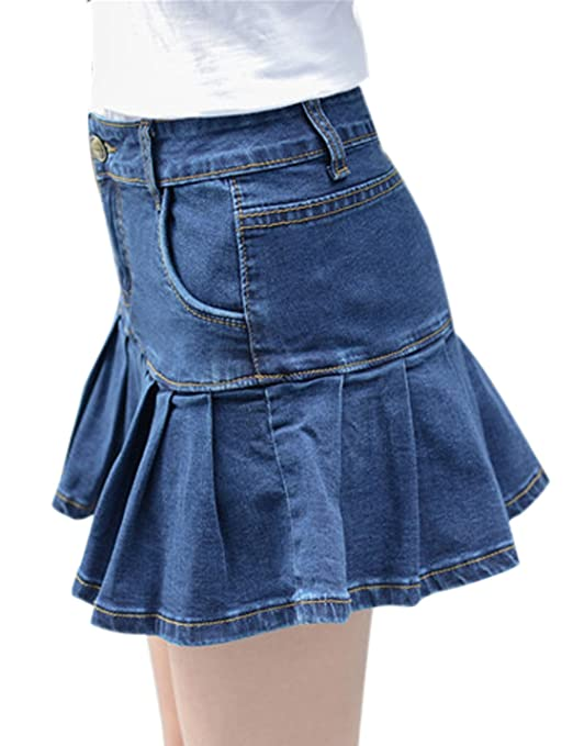 d9657baf3f Yeokou Women's Casual Slim A-line Pleated Ruffle Short Mini Denim Skirts at  Amazon Women's Clothing store: