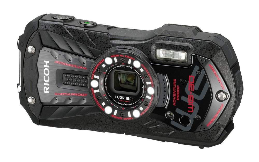 Ricoh WG-30 black 16 MP Waterproof Digital Camera with 5x Optical Image Stabilized Zoom and 3-Inch LCD (Black) International version (no warranty)