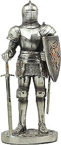 "Ebros Sir Geoffrey English Champion Knight Statue 7""Tall Lion Heraldry Shield Valiant Combat Warrior Suit of Armor Figurine"