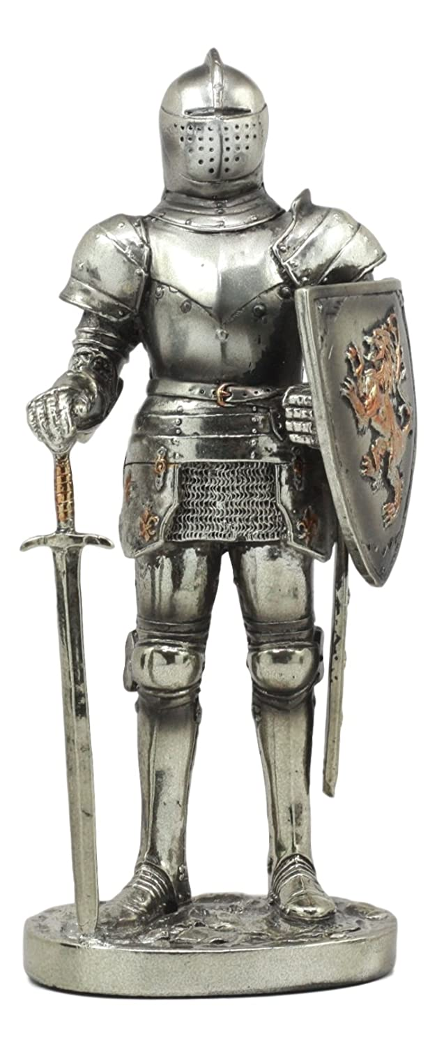 "Ebros Sir Geoffrey English Champion Knight Statue 7""Tall Lion Heraldry Shield Valiant Combat Warrior Suit of Armor Figurine"