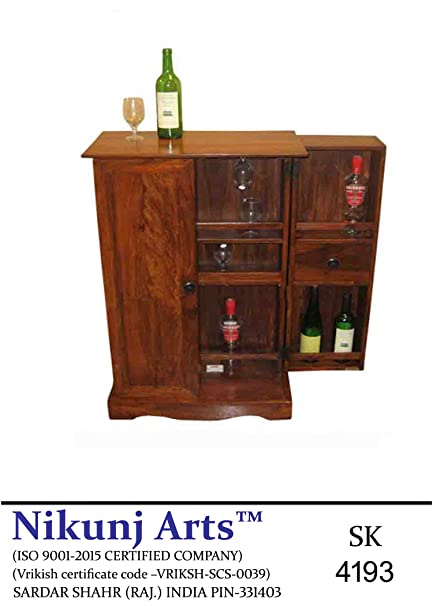 Nikunj Sheesham Wooden Bar Cabinet - Brown