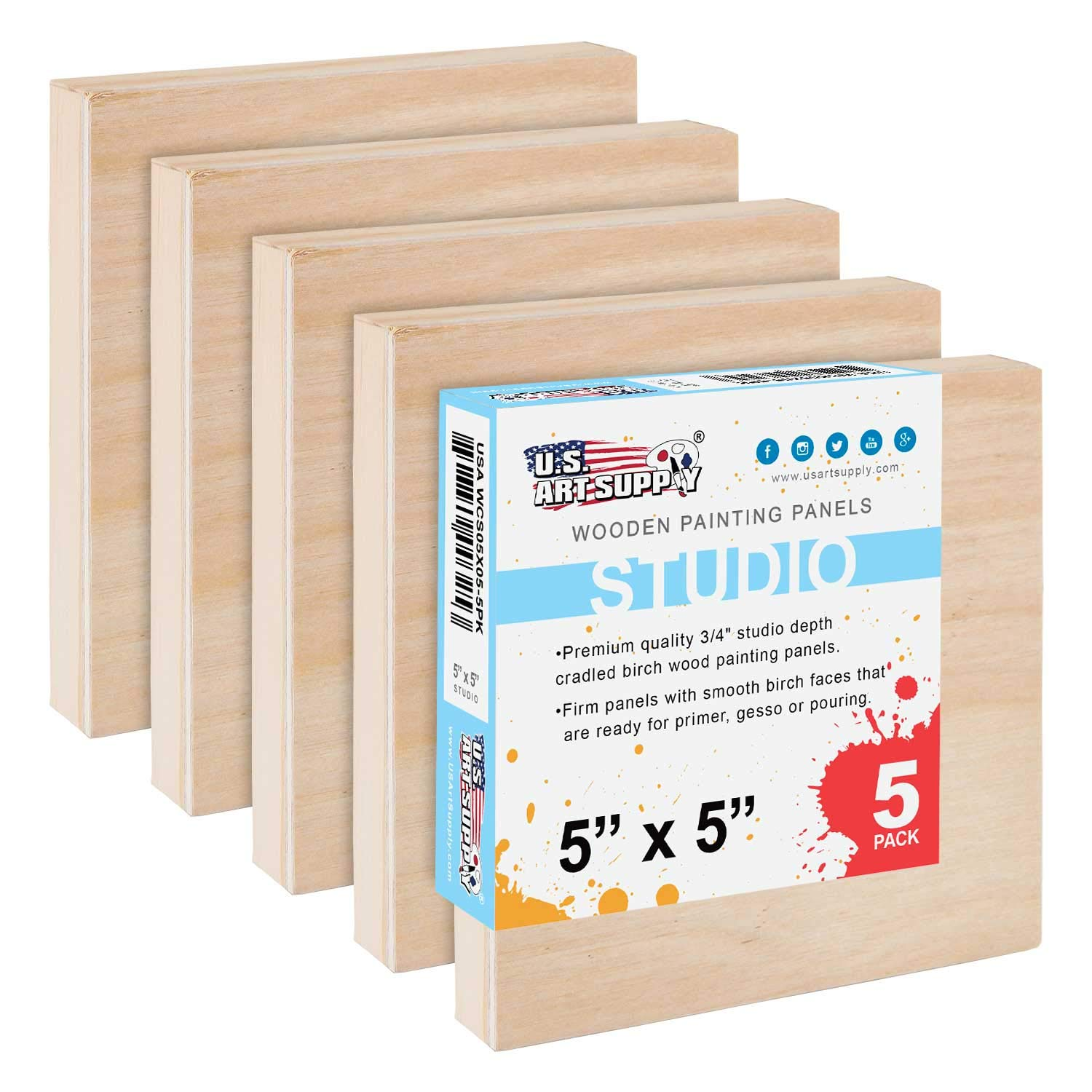 U.S Studio 3//4 Deep Cradle - Artist Wooden Wall Canvases Painting Mixed-Media Craft Oil Encaustic Acrylic Watercolor Pack of 5 Art Supply 5 x 5 Birch Wood Paint Pouring Panel Boards