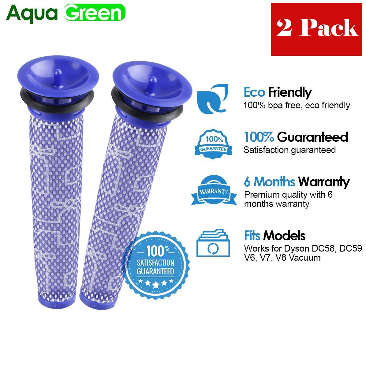 Replacement Filter For Dyson V8, V6, V7, DC58, DC59 Animal Compatible Washable Pre Filter Replaces Part # 965661-01 - 2 Filters by AQUA GREEN (Image #1)