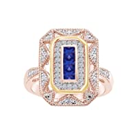 Sterling Silver & 14k Yellow Gold Blue Sapphire & Diamond Accent Art Deco-Style Ring (1/10 cttw, I-J Color, I3 Clarity)