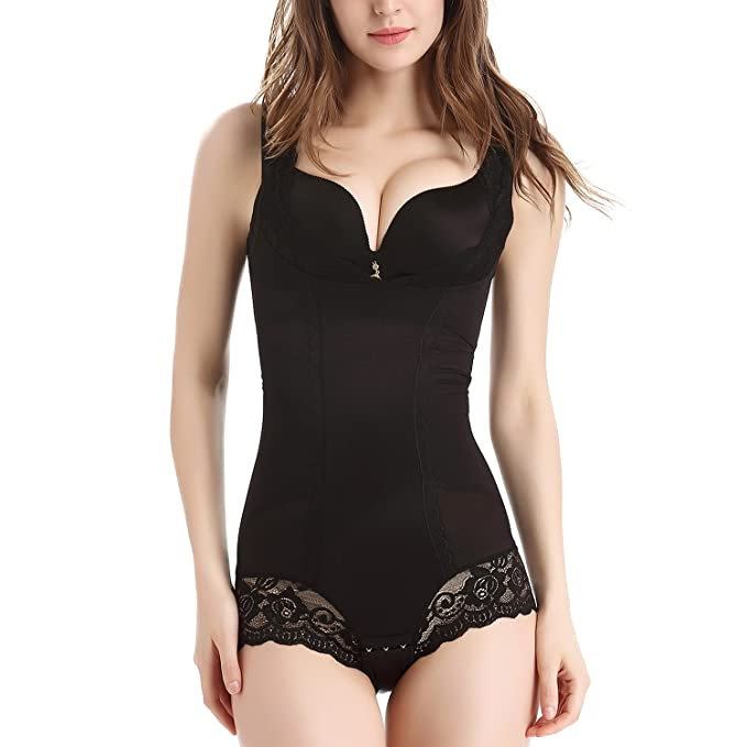 MOVWIN Body Shaper Full Body Slimmer Shapewear Tummy Control Waist Trimmer Bodysuit Girdle for Women, Black1, L=UK 14-16: Amazon.co.uk: Clothing