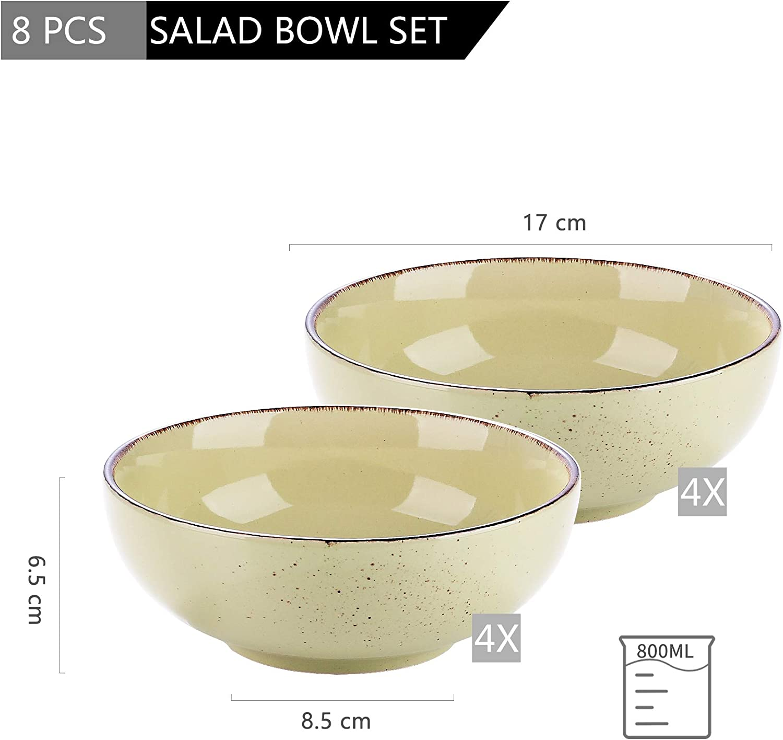 Taz/ón de Desayuno Ramen Consom/é Gres Yellow Green vancasso Serie Navia Prato Cuencos de Cereales 8 Piezas Juego de Tazones