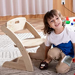 HOUCHICS Solid WooodenToddler's Chairs,Adjustable Kids Wood Chair for BedroomLivingRoom,Children's Chair with CurvedBack(No Paint)