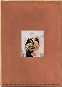 Golden State Art Fabric Photo Album - Rust Color - Holds 300 4x6-in Pictures (3 per Page) - One 3x3 Front Opening - Smooth Suede Style Cover