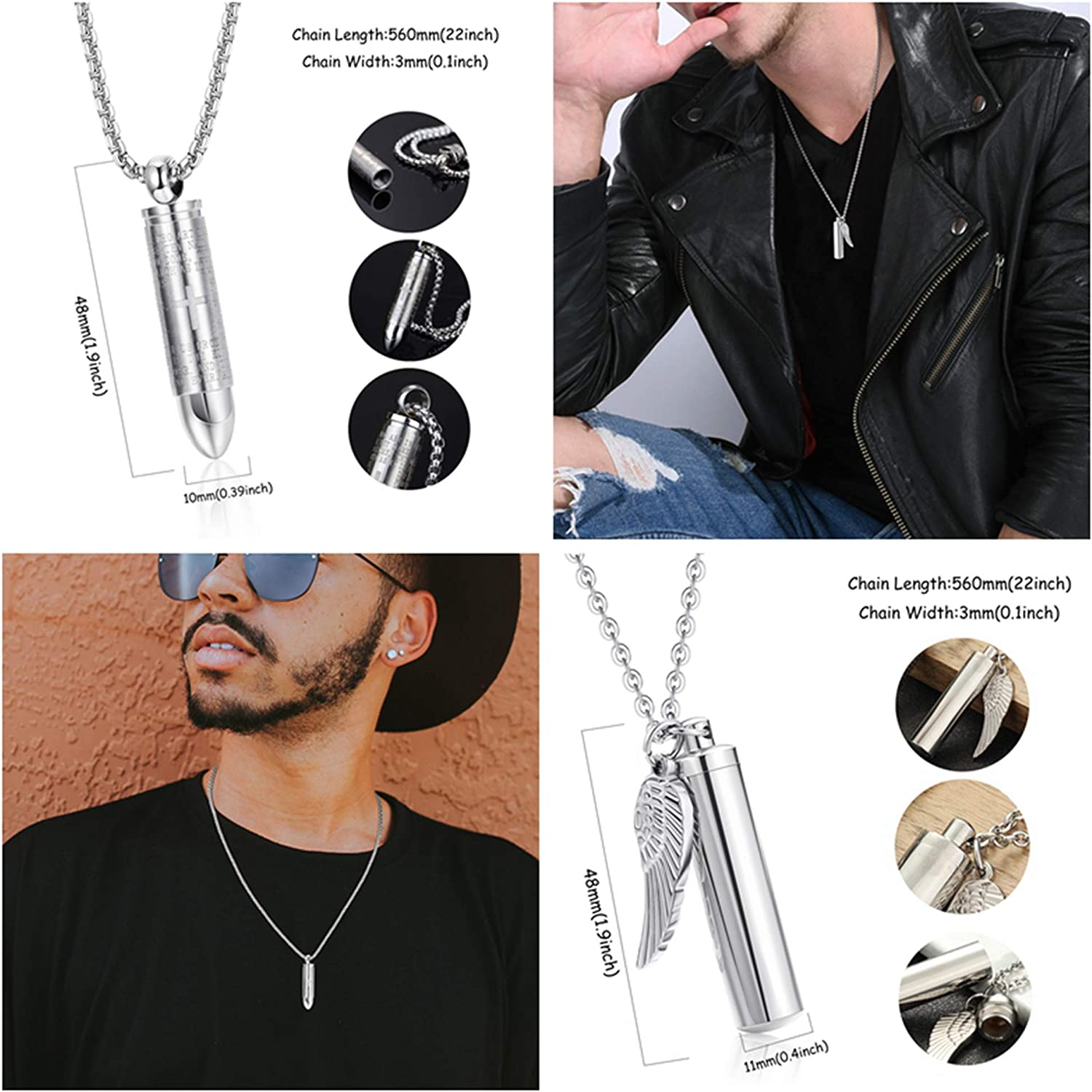 sailimue 2 Pcs Mens Cylinder Cremation Urn Necklace Stainless Steel Angel Wing Charm Memorial Urn Necklace Bullet Pendant Urn Ashes Necklace Cross Lords Prayer 22 Inch Chain